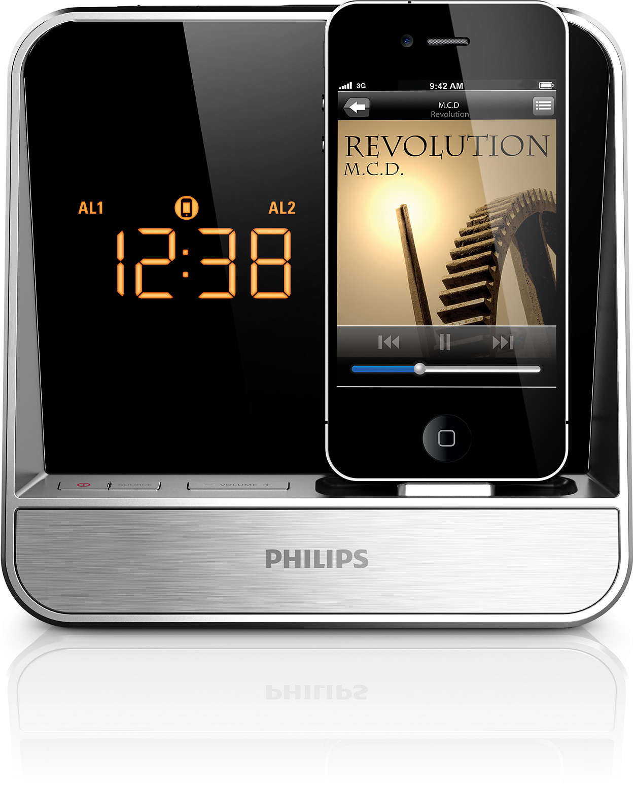alarm clock radio for ipod iphone aj5300d 37 philips. Black Bedroom Furniture Sets. Home Design Ideas