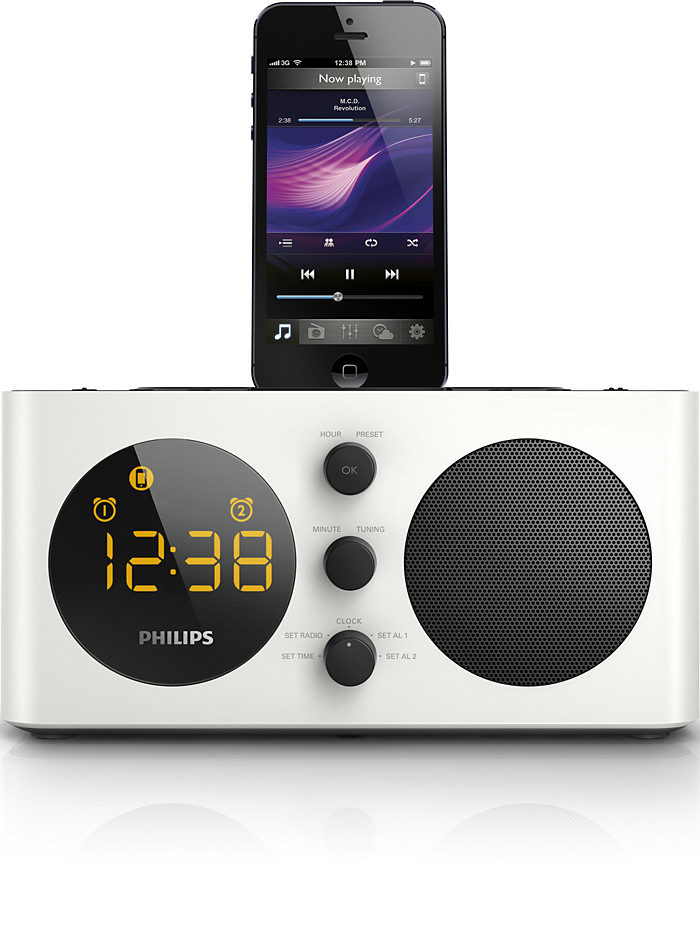 buy the philips alarm clock radio for ipod iphone aj6200d 98 alarm clock radio for ipod iphone. Black Bedroom Furniture Sets. Home Design Ideas