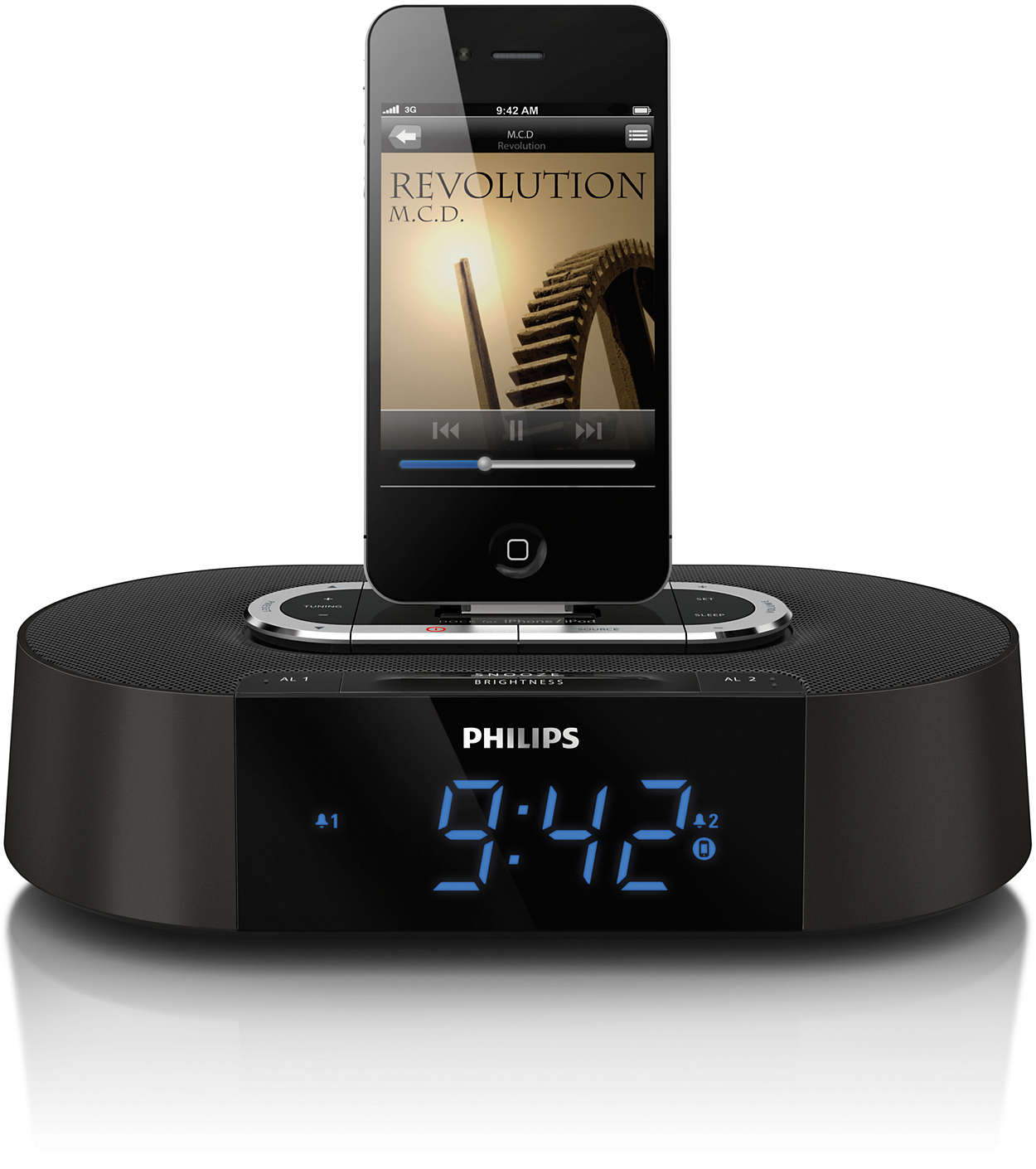 alarm clock radio for ipod iphone aj7030dg 37 philips. Black Bedroom Furniture Sets. Home Design Ideas