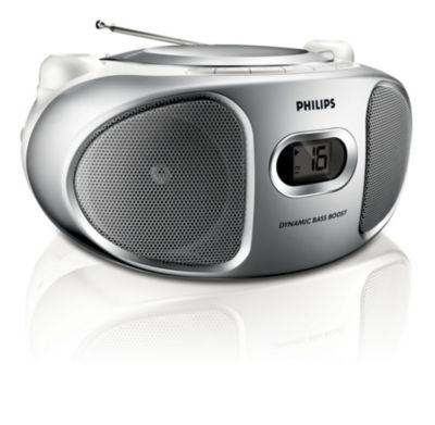 Zilverkleurige CD-soundmachine