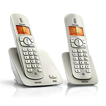 Champagne trådløs telefon med 2 håndsæt i 2000-serien