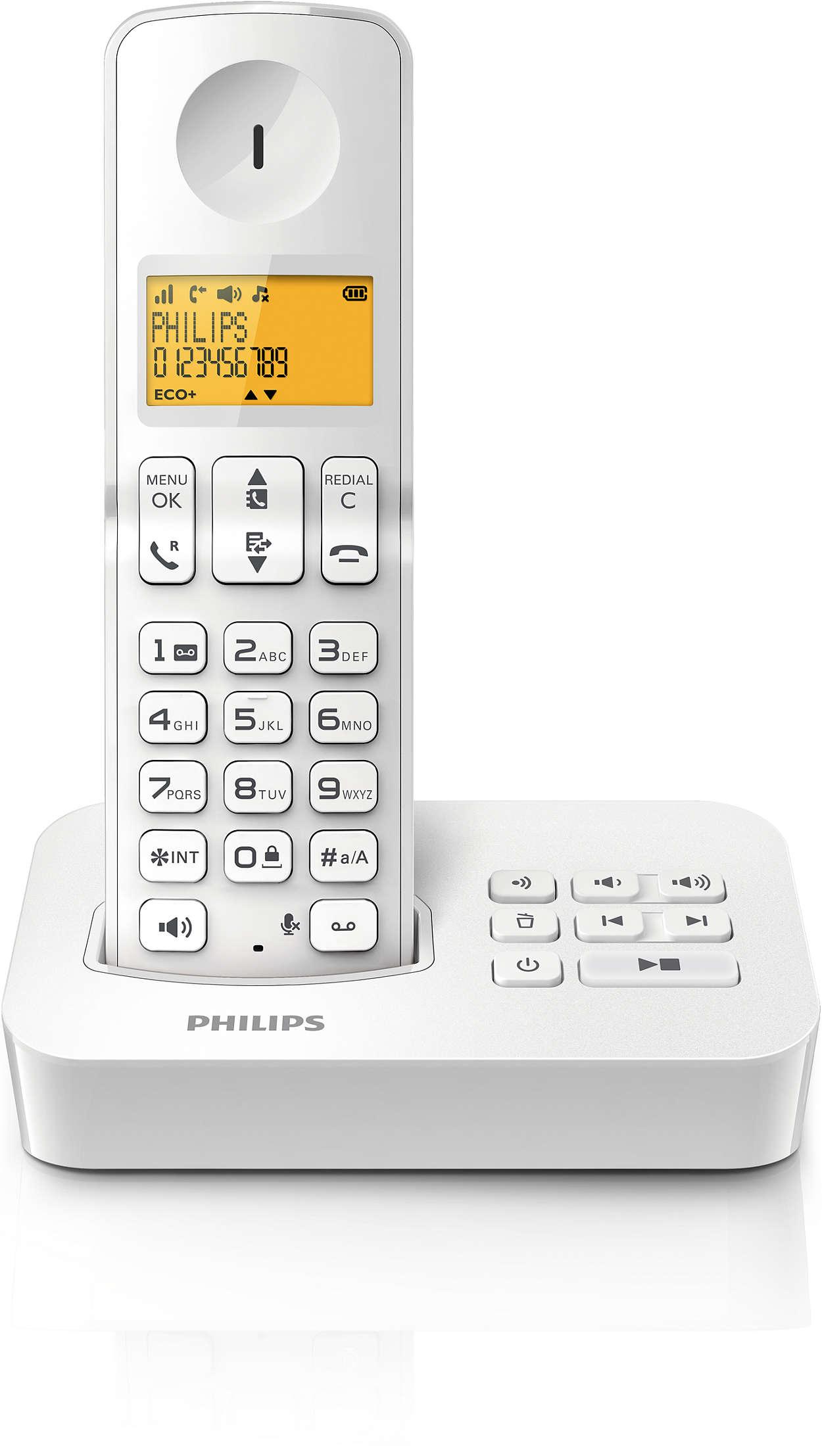 t l phone fixe sans fil avec r pondeur d2151w fr philips. Black Bedroom Furniture Sets. Home Design Ideas