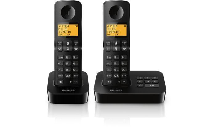 Schwarzes Schnurlostelefon mit Anrufbeantworter