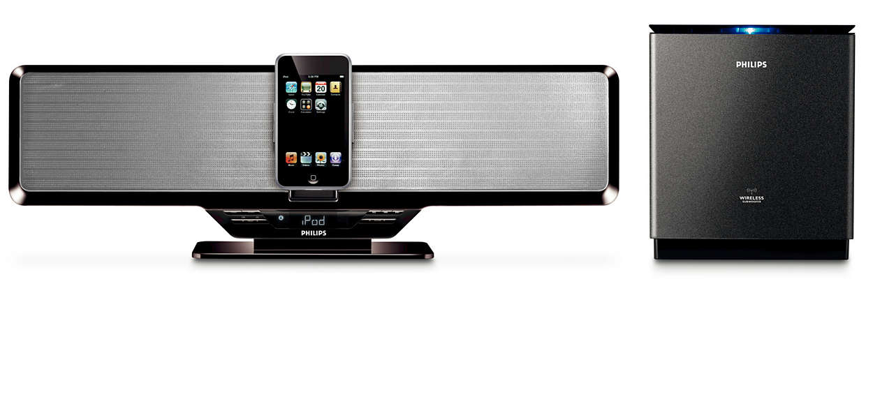 Enjoy iPod music out loud with wireless subwoofer
