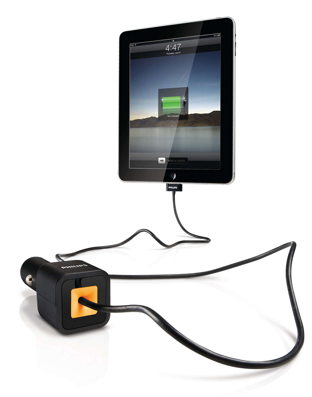 Charge iPad, iPhone or iPod in the car