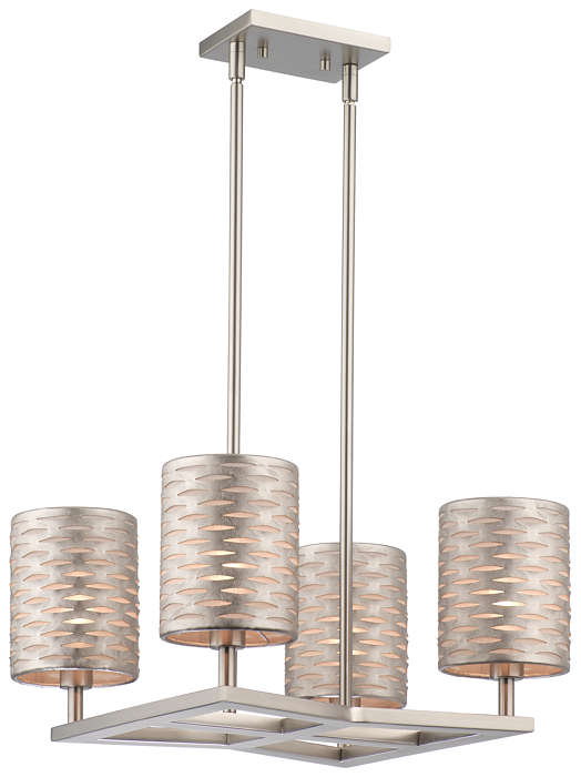 Cabaret 4-light Chandelier in Satin Nickel finish