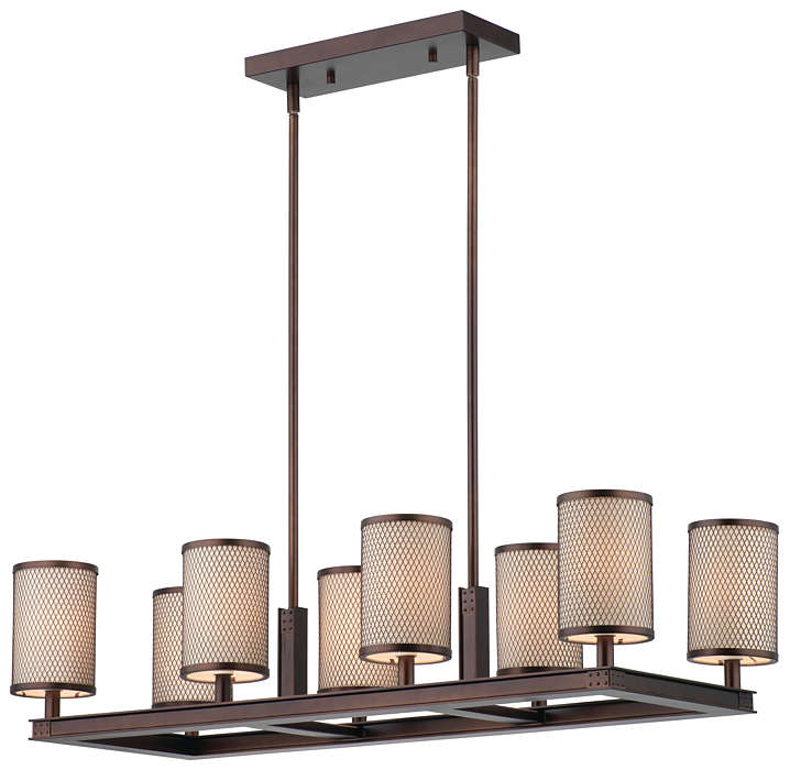 I Beam 8-light Chandelier in Merlot Bronze finish