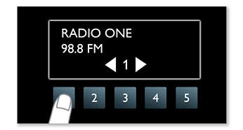 5 one touch buttons for easy access to favorite radio tunes