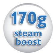 Steam boost up to 170 g for the most stubborn creases