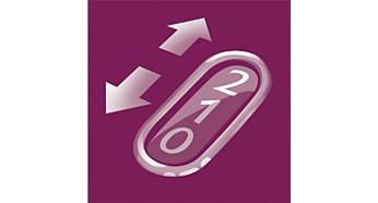 Zwei Geschwindigkeitsstufen für sanftes Epilieren und optimale Leistung
