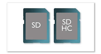 SD/SDHC card slot for music, photo and video playback
