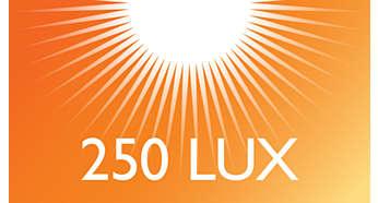 Up to 250 lux for natural awakening