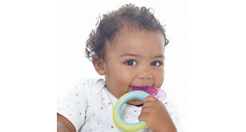 Textured for your baby to chew on as front teeth emerge