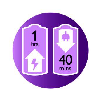 Até 40 minutos de uso sem fio e recarga rápida de 1 hora