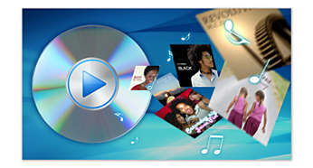 Reproduce DVD, DivX ®, MP3, AAC no DRM, WMA, FLAC, OGG y JPG
