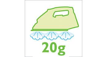 Phun hơi nước liên tục với mức tối đa 20 g/phút để làm phẳng các nếp nhăn tốt hơn