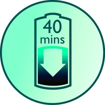 Up to 40 minutes wirefree shaving