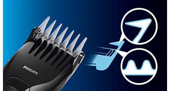 Skin-friendly blades and combs are gentle to the skin