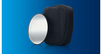 Includes hand-held mirror and storage pouch
