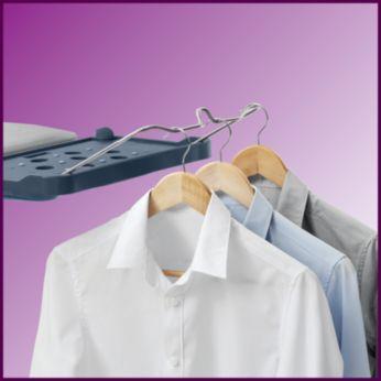 Pakabinkite drabužius išlyginę: patogi pakaba