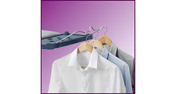 Hang garments after ironing: convenient hanging rail