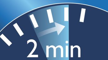 Two-minute timer helps ensure recommended brushing time