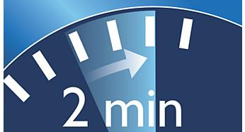 Der Zwei-Minuten-Timer gewährleistet die Einhaltung der empfohlenen Putzdauer.