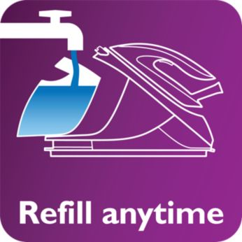 Tap water friendly, refill anytime during ironing