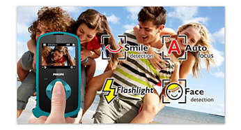 Flash, auto focus, face and smile detection