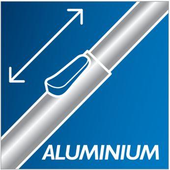 Curăţare confortabilă graţie tubului din aluminiu foarte uşor