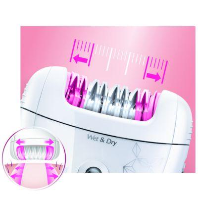 Широкая головка эпилятора удаляет больше волосков за одно движение