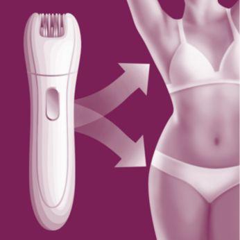 Эпилятор для чувствительных участков безболезненно удаляет волоски на самых деликатных зонах Вашего тела