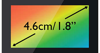 "High contrast, 4.6 cm (1.8"") TFT colour display"