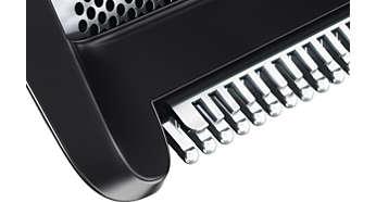 Триммер и бритвенная головка удаляют длинные волоски в одно движение