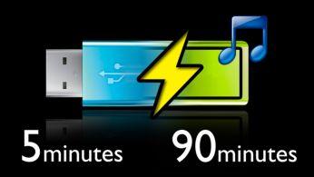 Încărcare rapidă de 5 minute pentru 90 de minute de redare