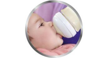 幅度較寬的乳房形狀奶嘴,有助於自然含吮動作
