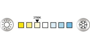 Ekte glødelampeaktig varmt hvitt lys (2700K)