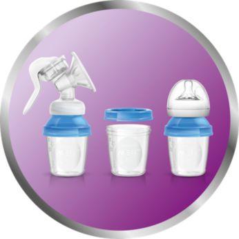 Includes 3 versatile milk storage cups