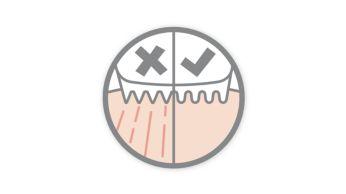Vârfurile rotunjite şi pieptenul previn iritarea pielii