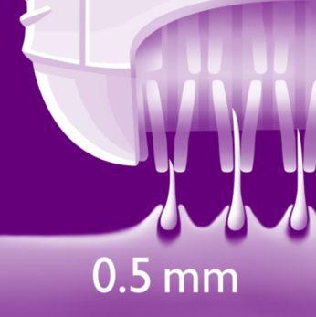 Os discos de depilação exclusivos removem até os pelos de 0,5 mm