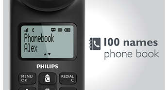 Save up to 100 of your favourite contacts in your phonebook