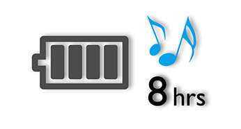 Up to 8 hours music playback