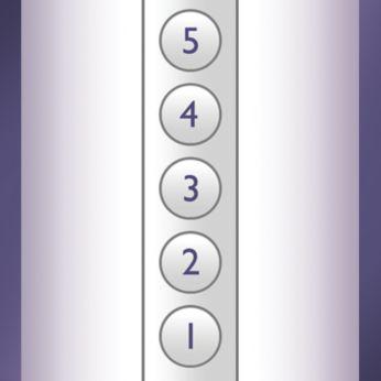 Beş ayarlanabilir ışık enerjisi ayarı