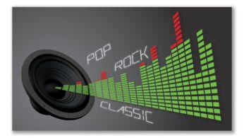 Digitālā skaņas kontrole optimizētiem mūzikas stilu iestatījumiem