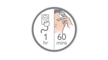 Bis zu 60 Minuten kabellose Verwendung nach 1 Stunde Ladung.