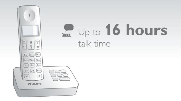 Bis zu 16 Stunden Gesprächszeit bei voll geladenem Akku