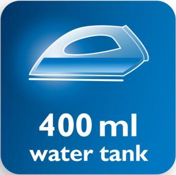Īpaši liela 400 ml ūdens tvertne retākai uzpildīšanai