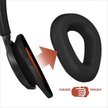 Çıkarılabilir ve yıkanabilir kulak tamponları rahat ve kuru kalmanızı sağlar