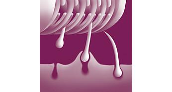 Discos rotativos confortáveis que removem os pelos sem puxar a pele