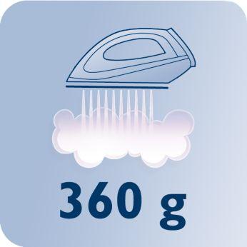 Постоянная подача пара до 120г/мин и паровой удар 360г